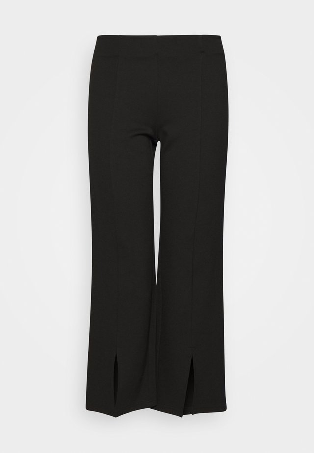 NMSKYLER SLIT PANTS - Bukser - black