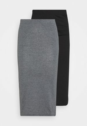 NMANJA SKIRT 2 PACK  - Falda de tubo - medium grey melange/black