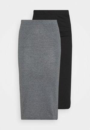 NMANJA SKIRT 2 PACK  - Blyantskjørt - medium grey melange/black