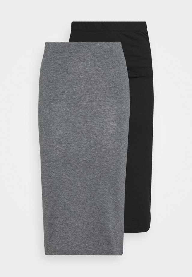 NMANJA SKIRT 2 PACK  - Pencil skirt - medium grey melange/black