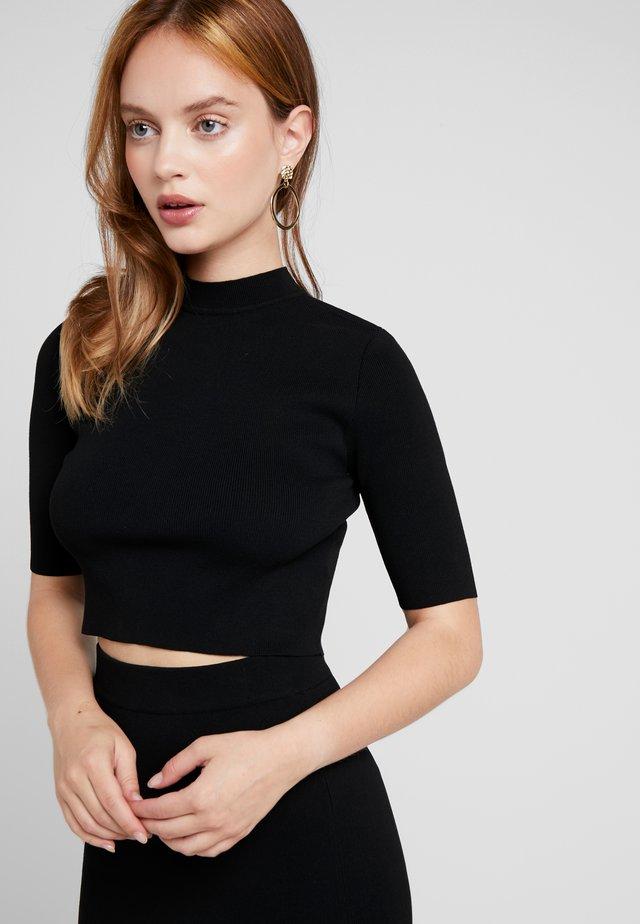 NMELLIOTT CROPPED  - T-shirt med print - black