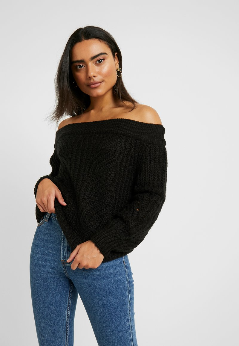 Noisy May Petite - NMPHOEBE OFF SHOULDER - Trui - black