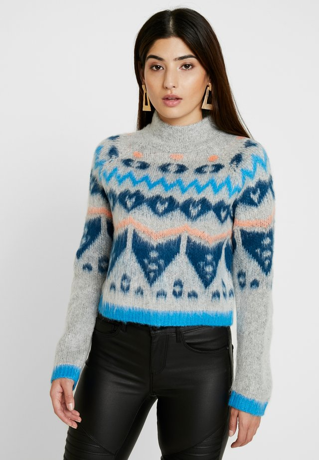 NMIMARNI  - Jumper - light grey melange/multi color/blue
