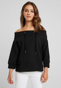 Noisy May Petite - NMLIFE 3/4 ONESHOULDER - Sweater - black - 0