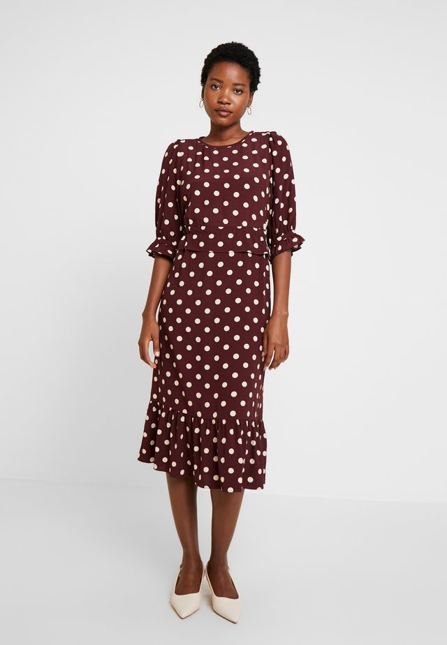 DRESS LONG SLEEVE - Korte jurk - print bordeaux