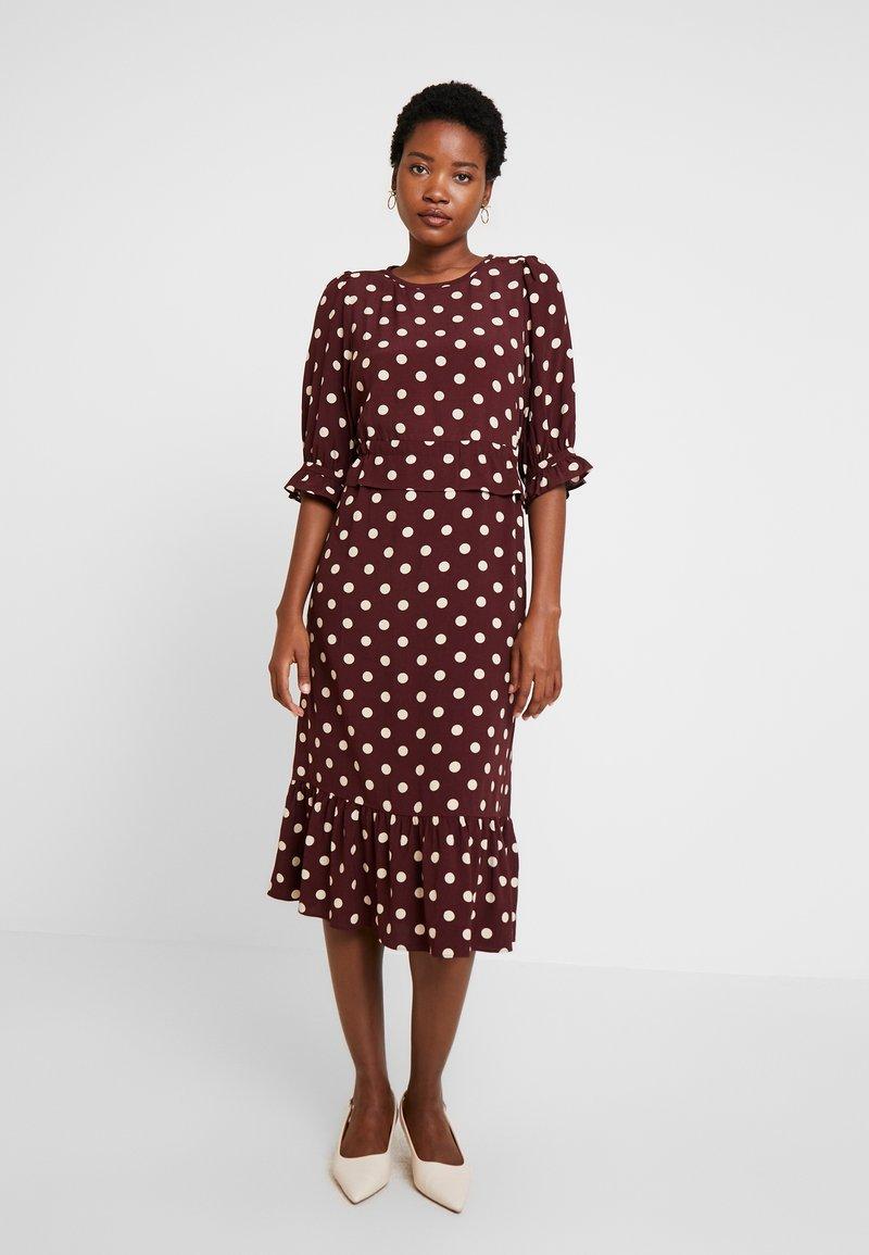 Noa Noa - DRESS LONG SLEEVE - Day dress - print bordeaux