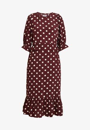 DRESS LONG SLEEVE - Vestito estivo - print bordeaux