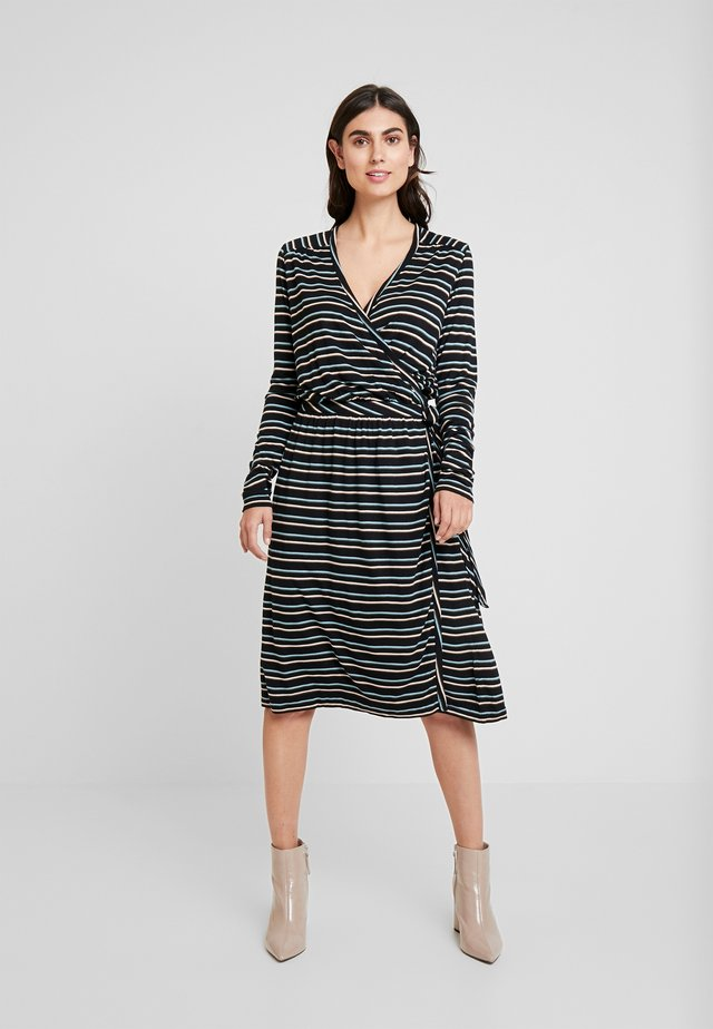 STRIPED - Jersey dress - art black