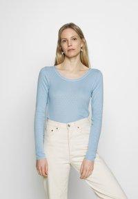 Noa Noa - BASIC NEW POINTELLE  - Long sleeved top - powder blue - 0