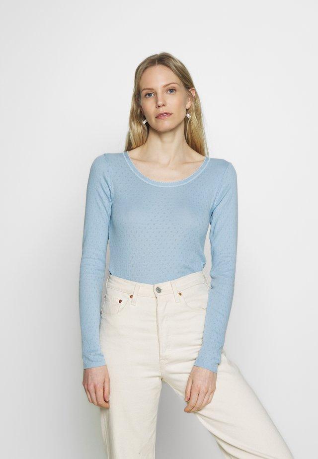 BASIC NEW POINTELLE  - Long sleeved top - powder blue