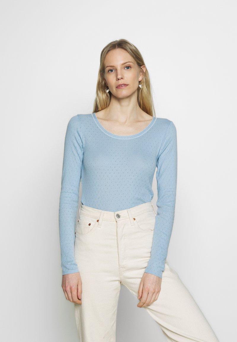 Noa Noa - BASIC NEW POINTELLE  - Long sleeved top - powder blue