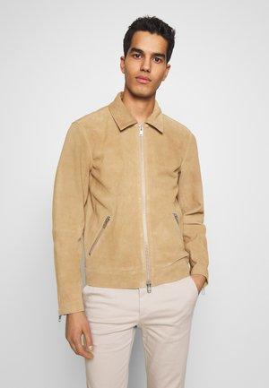 TRON SUEDE RACER - Leather jacket - cognac
