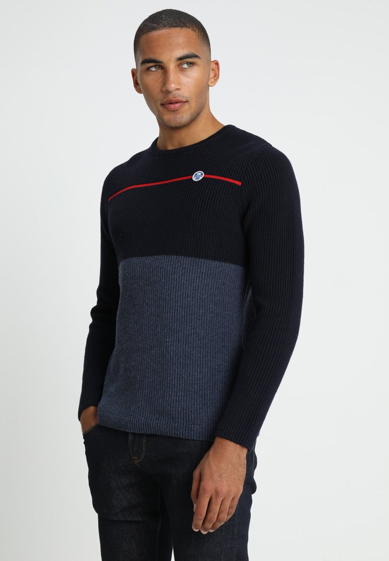 North Sails - STRIPED ROUND NECK - Jumper - navy blue