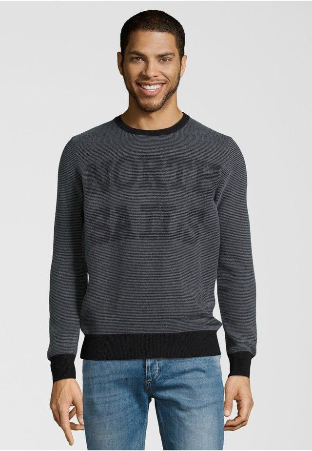 STRIPED ROUND NECK - Pullover - navy/grey