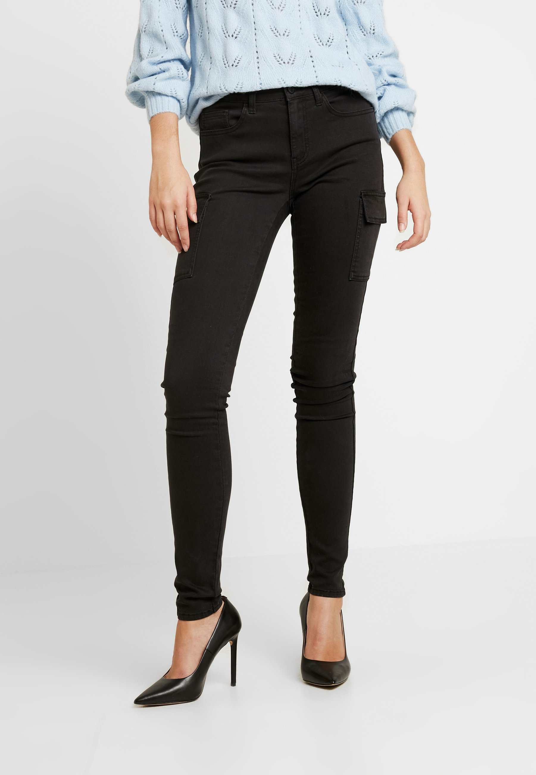 Noisy May Tall NMLUCY UTILITY PANTS - Jeansy Skinny Fit - black