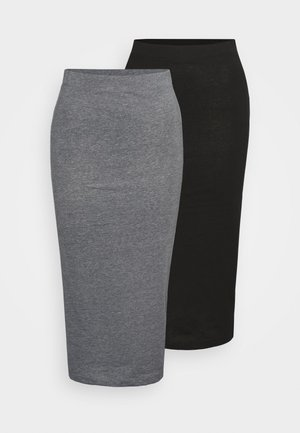 NMANJA SKIRT TALL 2 PACK - Blyantskjørt - black/medium grey melange