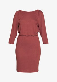 Noisy May Tall - NMHALLEY 3/4 O-NECK DRESS TALL - Vestido de punto - burnt henna - 3