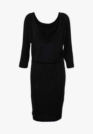 NMHALLEY 3/4 O-NECK DRESS TALL - Strikket kjole - black