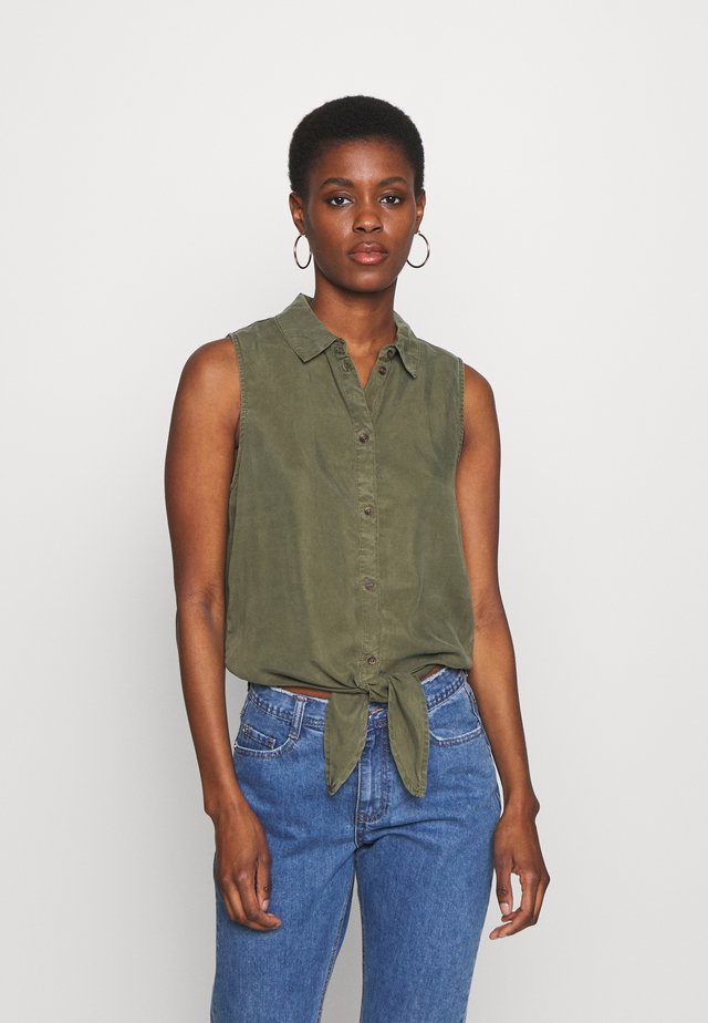 NMGARY ENDI TIE - Button-down blouse - olive night