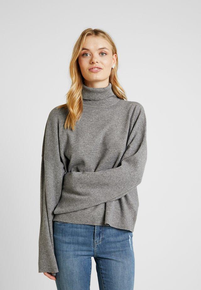 NMSHIP ROLL NECK - Stickad tröja - medium grey melange