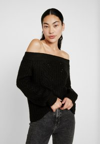 Noisy May Tall - NMPHOEBE OFF SHOULDER - Trui - black - 0