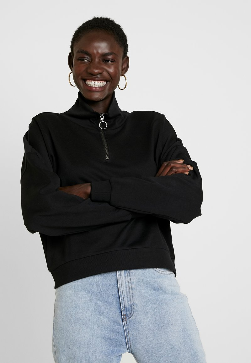 Noisy May Tall - NMHALLY ZIP - Sweatshirt - black