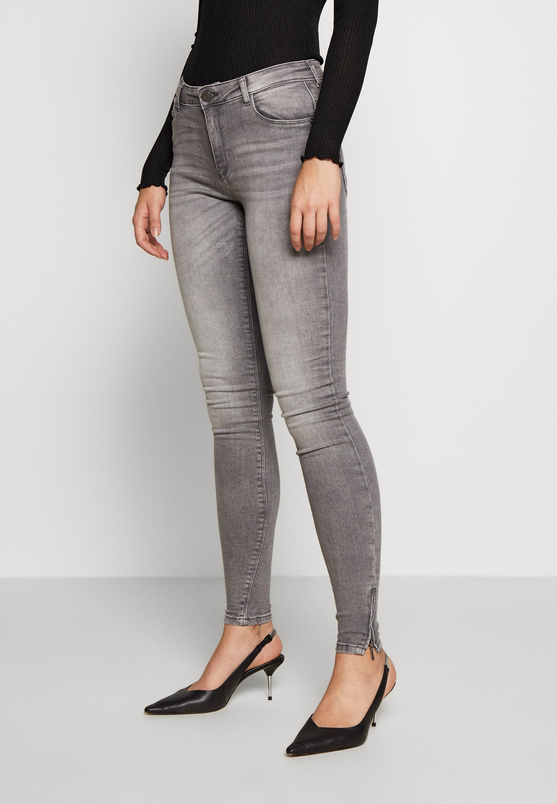 Noisy May Tall NMKIMMY ANKLE ZIP - Jeansy Skinny Fit - light grey denim