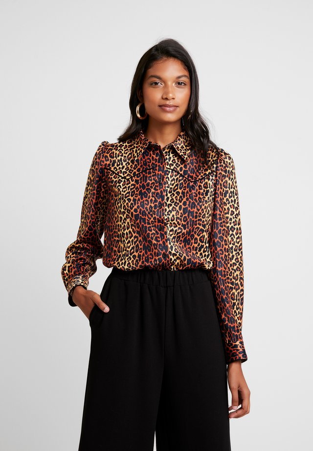 ALEXIS - Button-down blouse - brown/black