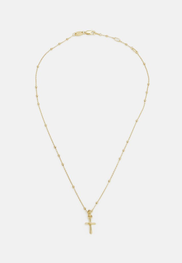 DIMENSIONAL CROSS BEADED CHAIN NECKLACE - Necklace - gold-coloured