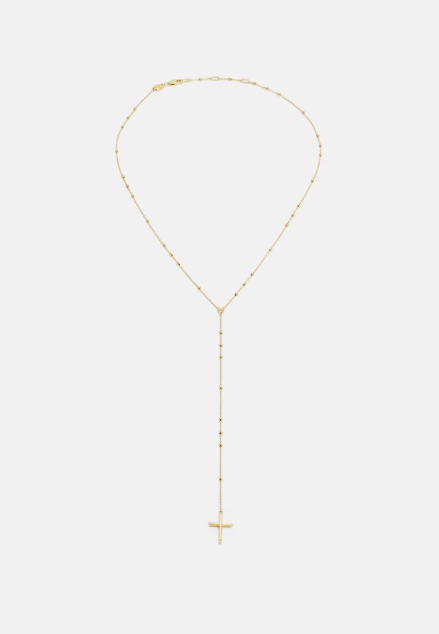 THE CROSS BEADED CHAIN LARIAT NECKLACE - Necklace - gold-coloured