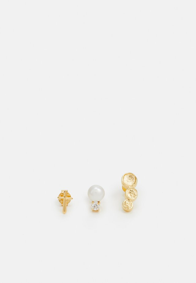 3 PACK - Earrings - gold-coloured