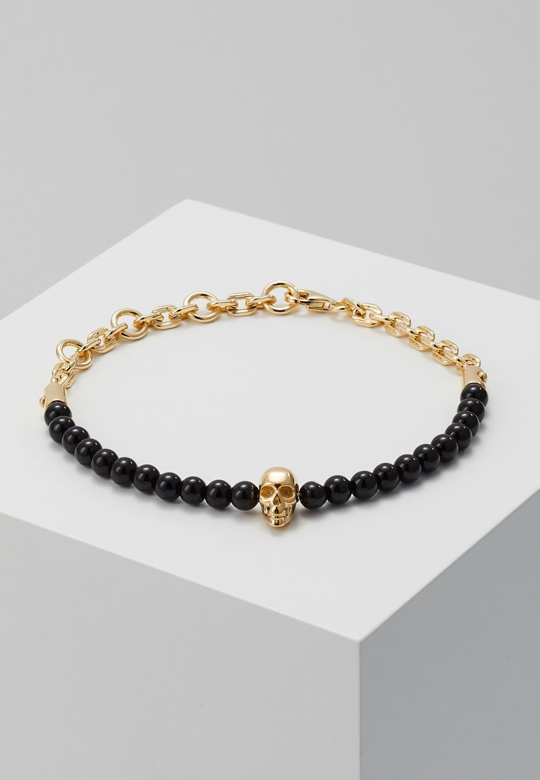 Northskull - SKULL BEAD AND CHAIN BRACELET - Bracelet - black/gold-coloured