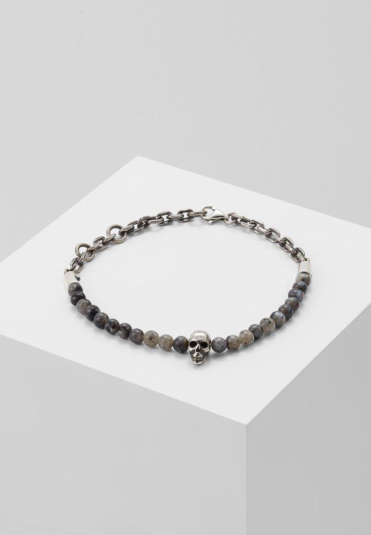 Northskull - SKULL BEAD AND CHAIN BRACELET - Bracelet - black/labradorite/silvercoloured