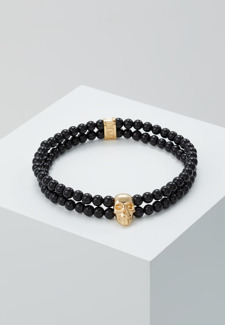 Northskull - DOUBLE ROW BEADED BRACELET WITH SKULL CHARM BRACELET - Bracelet - black/gold-coloured