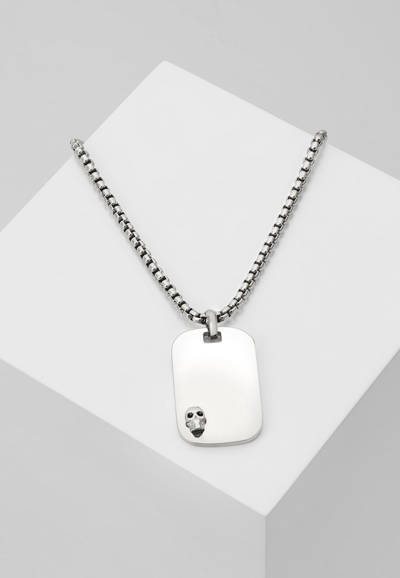 Northskull - ATTICUS SKULL TAG NECKLACE - Necklace - silver-coloured