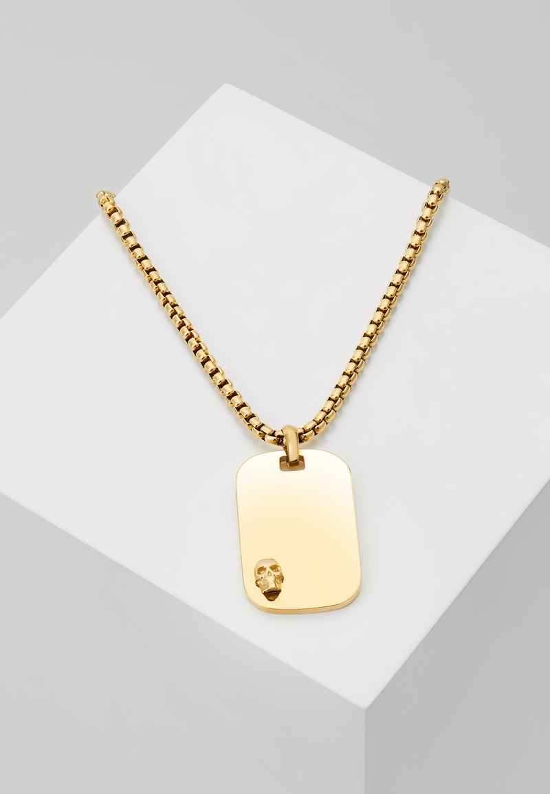 Northskull - ATTICUS SKULL TAG NECKLACE - Ketting - yellow gold-coloured