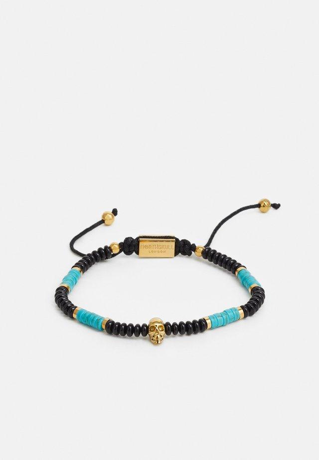 SKULL MACRAMÉ BRACELET UNISEX - Armband - black/turquoise/gold-coloured