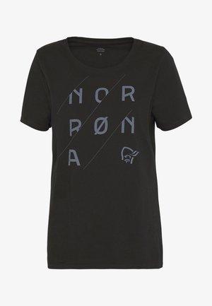 SLANT LOGO - Print T-shirt - caviar