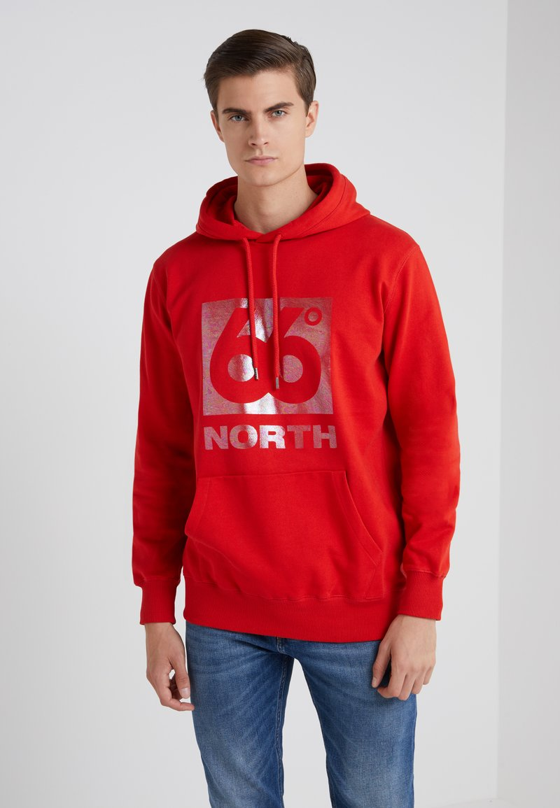 66 North - HOODIE BIG BOX LOGO - Jersey con capucha - blood orange