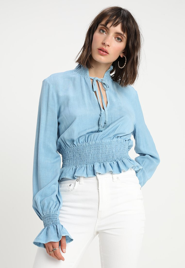 Neon Rose - PEASANT WITH SHIRRING AND DETAIL - Blouse - blue
