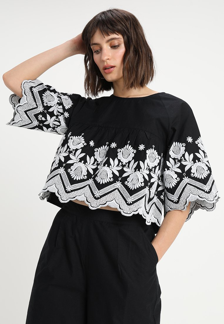 Neon Rose - CROP - Blouse - black/white