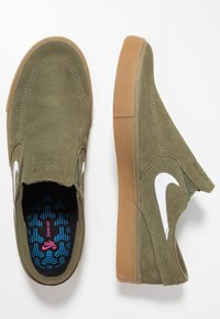 Nike SB - ZOOM JANOSKI - Instappers - medium olive/white/light brown/photo blue/hyper pink - 1