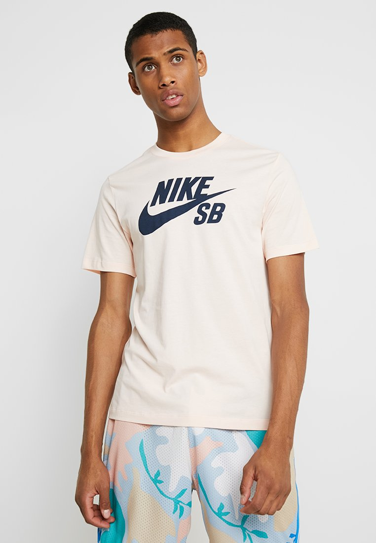 Nike SB - DRY TEE LOGO - Print T-shirt - washed coral/obsidian