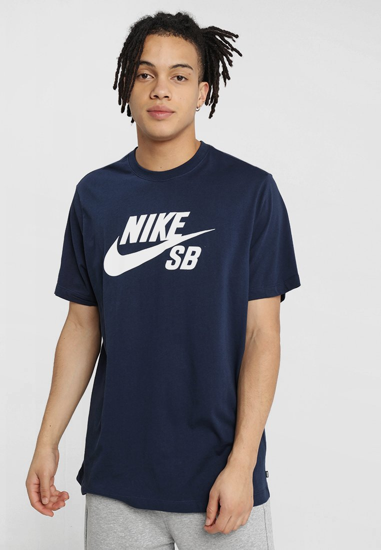 Nike SB - DRY TEE LOGO - T-shirt z nadrukiem - obsidian/white