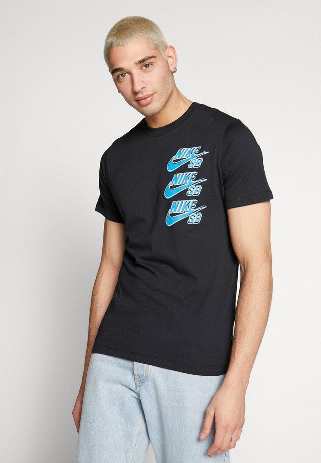 T-shirt med print - black/blue stardust