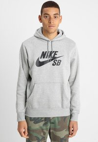 Nike SB - ICON HOODIE - Luvtröja - grey heather - 0