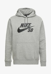 Nike SB - ICON HOODIE - Luvtröja - grey heather - 4