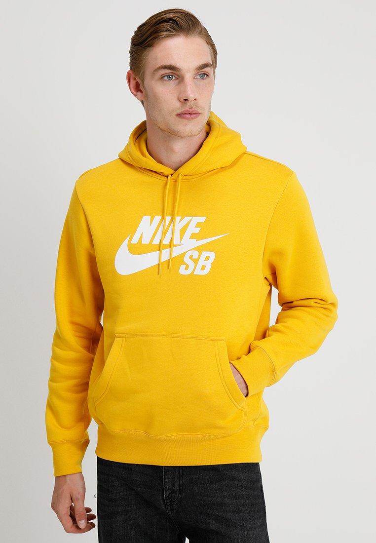 Nike SB - ICON HOODIE - Hoodie - yellow ochre/white