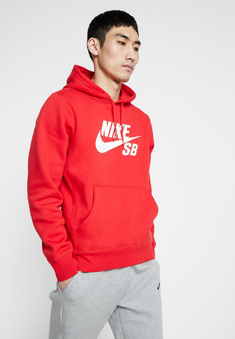 Nike SB - ICON HOODIE - Hoodie - university red/white