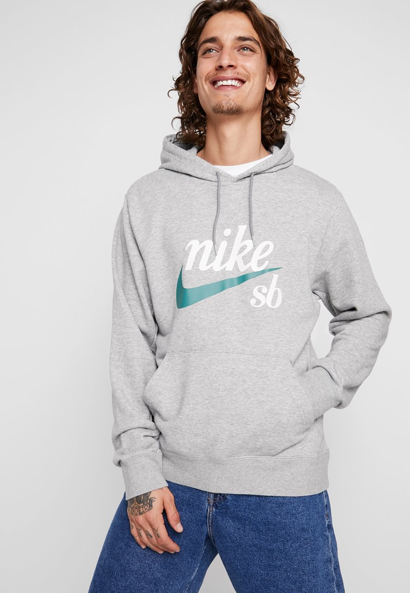 Nike SB - HOODIE WASHED ICON - Jersey con capucha - dark grey heather/summit white